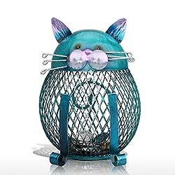 Tooarts Cat Coin Box Piggy Bank Animal Ornament Iron Art Handcrafts