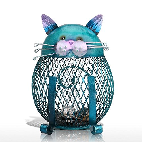 Tooarts Katze Spardose Deko Skulptur Dekofigur aus Metall zum Dekorieren