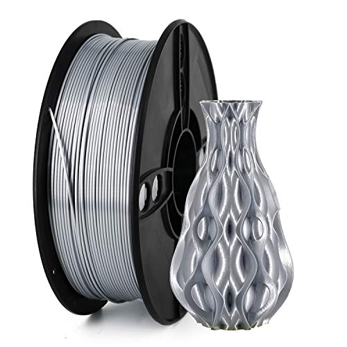 Veeology Silk 3D Printer PLA Filament 1.75, 1KG PLA 1.75mm of MasterSpool, Fit FDM 3D Printer, 1KG Spool, Dimensional Accuracy +/- 0.05 mm (Silk Silver)