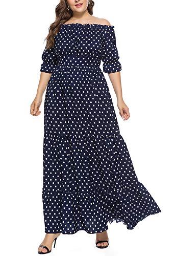 FEOYA - Mujer Vestidos de Playa Talla Grande Collar de Una Palabra para Viaje Vacaciones Falda Larga de Estilo Bohemio para Banquete Boda