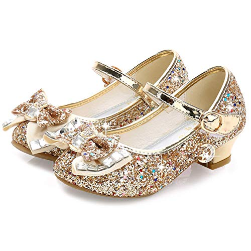 Walofou Kids Girl Princess Shoes Wedding 4T Gold Sequins Little Flower Girls Mary Jane Glitter Shoes Size 10 4 Yr Cute Toddler Girls High Heels Shoes Cosplay Dress up Bridesmaid (Gold 11)