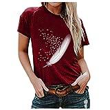FeelFree+ Tops y camisetas para mujer Blusas básicas de manga corta con corazón informal Camisas sueltas estampadas de...
