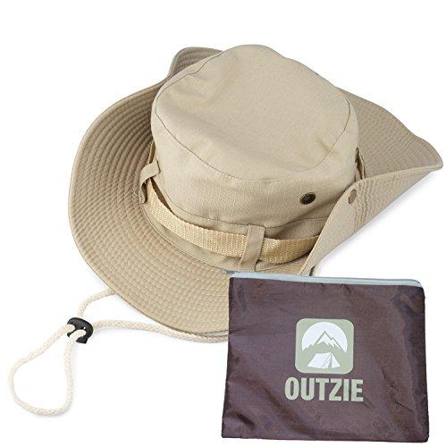 Wide Brim Packable Booney Sun Hat |Lightweight Cotton |Fishing Gardening Hiking Tan