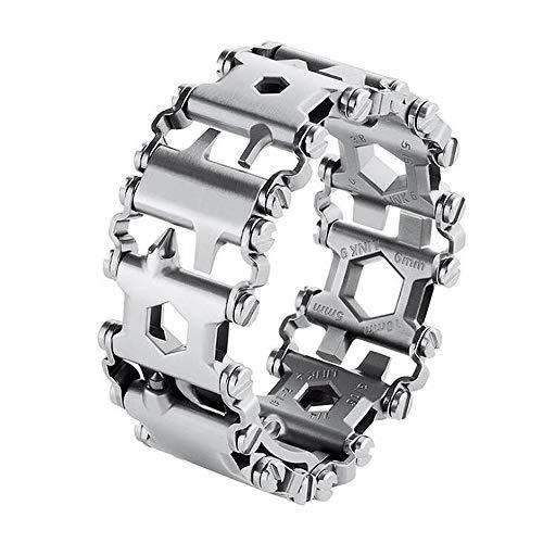 ANLW Stainless steel Bracelet for Men Multifunction Outdoor Survival Bracelet Wearable Emergency Bracelet Screwdriver tool Bracelet,Silver
