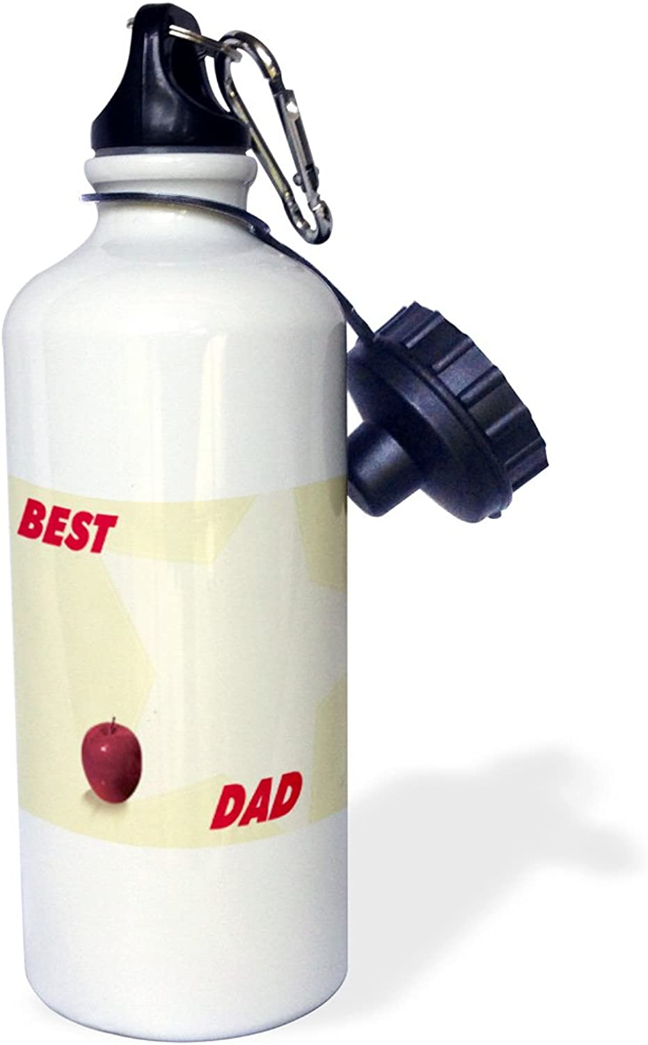 3dpink wb_35407_1 Red Apple and Star with Best Dad Words Sports Water Bottle, 21 oz, White