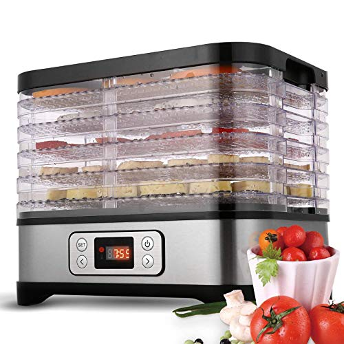 Tooluck 5 plateaux 250W déshydrateur alimentaire Machine professionnelle électrique conservateur alimentaire pour viande ou bœuf séchoir à fruits et légumes (noir)