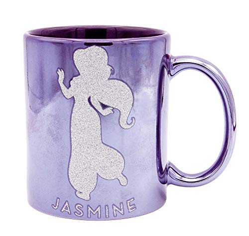 Disney Princess Jasmine Tasse Metallic Making My OWN Choices - lila, Glitterdruck, Metallicglanz, 100% Keramik, ca. 320 ml, Geschenkbox.