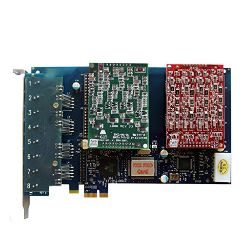 FXO FXS Card with 8 Ports,PCI-E (PCIe),Supports Asterisk,Issabel,FreePbx for VoIP Phone System - (4 FXO+4 FXS Ports)