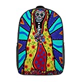 huobeibei Mexican Skull Backpacks Stylish Polyester Picnic Backpack Woman Big Bags 17inch A