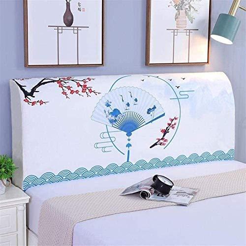 Estilo chino Funda cabecero de cama/Elasticidad Cubierta de cabecera de cama,Adecuado para cabecera simple / dobleDecoración de dormitorio a prueba de polvo cabecero tela。 ( Color : B , Size : 180CM )