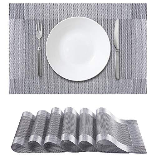 Chefic 6 Personen Tischset Silber, Elegante PVC Tischsets Abwischbar 45x30cm rutschfest Platzdeckchen, Premium Hitzebeständig und Abgrifffeste Tischmatte Abwaschbar für Küche Speisetisch - Silber