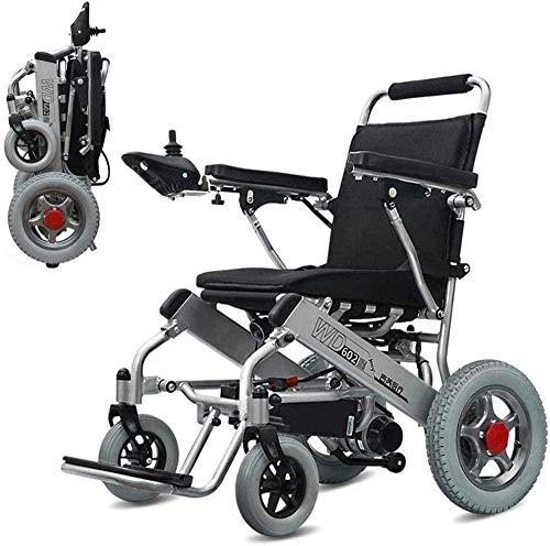 mjj Silla de ruedas eléctrica de lujo plegable, motorizada, autopropulsión, silla de ruedas ligera, silla de ruedas eléctrica para personas mayores y discapacitadas