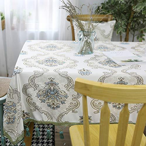 ZYT Waschbar, schmutzabweisend, pflegeleicht, hochwertig,Tischdecke Stoff rechteckig Esstisch Spitze Spitze Tischdecke hohl oval beige 90 * 90cm