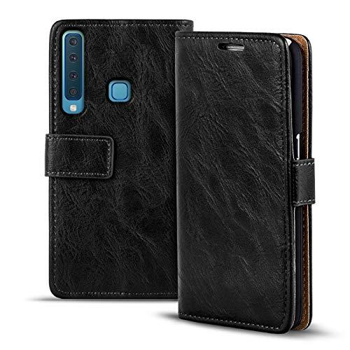 Verco Galaxy A9 (2018) Hülle, Premium Handy Schutzhülle für Samsung Galaxy A9 Hülle PU Leder Wallet Tasche Retro Flipcase, Schwarz