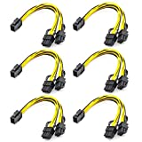 Video Card Power Cable,6 Pin to PCIe 8 Pin to Dual(6+2),PCI Express Power Adapter GPU 6Pin to Double 8Pin,Graphics Card Power Extension Mining Line 9inch 6pack
