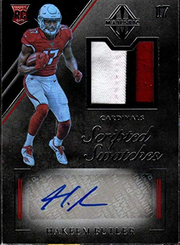 2019 Panini Majestic Rookie Scripted Swatches #126 Hakeem Butler RC Used Jersey AUTO 13/99 Arizona Cardinals NFL Football Trading Card
