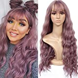 HUA MIAN LI Long Wavy Wig With Air Bangs Silky Full Heat Resistant Synthetic Wig for Women - Natural Looking Machine Made Grey Pink 26 inch Hair Replacement Wig for Party Cosplay Body Wavy (Pink)