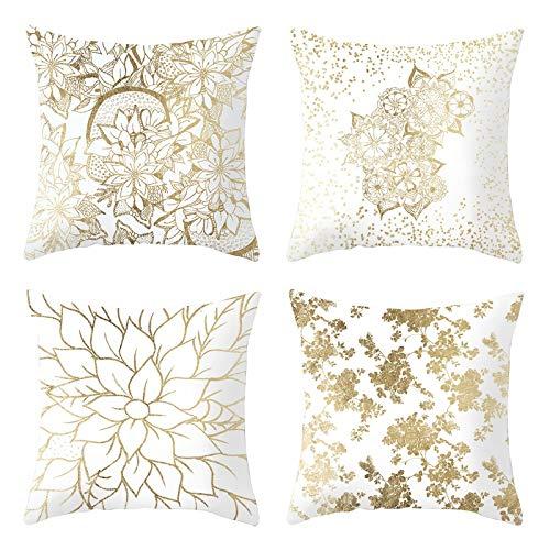 AmDxD Funda de almohada de poliéster, cuadrada, 40,6 x 40,6 cm, diseño de hojas, juego de 4, color oro blanco