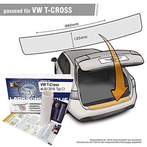 Lackschutzshop - Passform Lackschutzfolie transparent kompatibel mit Ladekantenschutz passend VW T-Cross (Typ C1) - (Autofolie und Schutzfolie) transparent 150µm