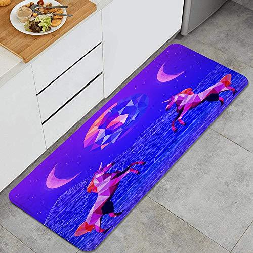 HASENCIV Alfombrillas de Cocina Antideslizantes Ilustración de Estilo de Onda Ultravioleta Vaporwave Synthwave 80S Felpudos Cocina Dormitorio Baño Antifatiga Alfombrilla de Poliéster