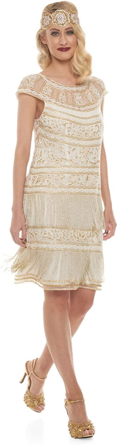 Clara Vintage Inspired Fringe Flapper Dress in Ivory gold