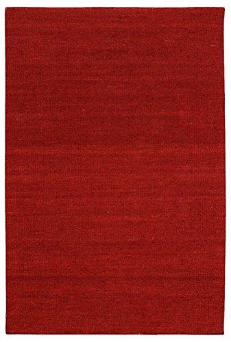 Morgenland Kelim Teppich FANCY Dunkelrot Einfarbig Uni Wollteppich Kurzflor Handgewebt 200 x 80 cm...