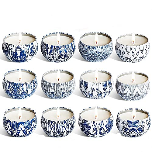 ARONTOME Citronella Candles, 12 Pcs Candle Gift Set, Outdoor/ndoor Soy Wax Citronella Candles, for Garden Patio Picnic Camping