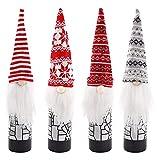 Cubierta de botella de vino de Navidad, 4 piezas Decoración de botella de vino de Navidad Adornos navideños de gnomos Bolsas de botella para decoración de regalo de botella de vino de Navidad