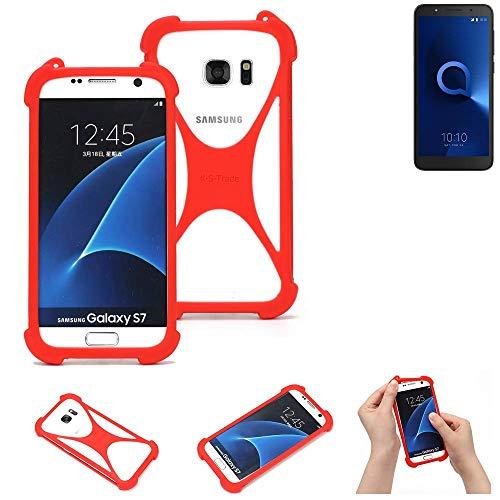 K-S-Trade® Handyhülle Für Alcatel 1C Dual SIM Schutzhülle Bumper Silikon Schutz Hülle Cover Case Silikoncase Silikonbumper TPU Softcase Smartphone, Rot (1x)