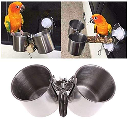 鳥の餌箱鳥の水ケージ、オウムの餌のカップステンレス鋼の鳥フード皿の餌箱オカメインコバッジーインコのクランプホルダー付きデュアルウォーターケージボウル