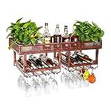 YLCJ Wine Racks Vintage Soporte de Pared de Metal de Doble Capa de pie Soporte para Copa de Vino Colgante Soporte para Vino rústico Soporte para Vino montado en la Pared (Color: marrón)