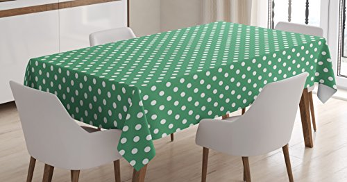 Ambesonne Green Tablecloth, Old Fashioned Polka Dot Pattern on Green Background Classical Traditional, Dining Room Kitchen Rectangular Table Cover, 60' X 84', Forest Green