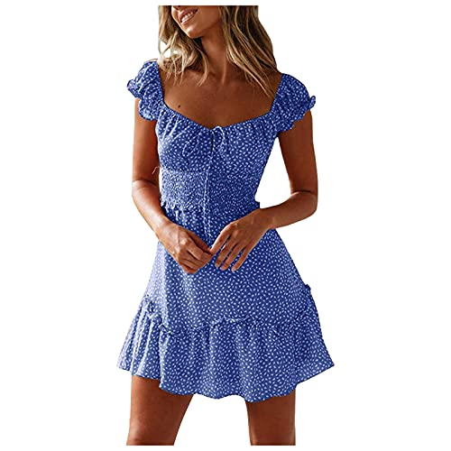 ORT Strapless Dresses for Women, Dresses for Women,Women's Summer Casual Short Sleeve V-Neck Short Party Dress with Pockets 2021 Loose Sundress