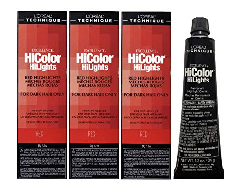 L 'OreaI Excel Hicolor RED & BLONDE Permanent Hair Dye For Dark Hair 49.29g (Red (3pks))