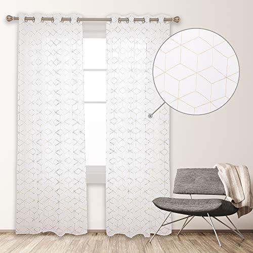 Deconovo Cortinas Visillos Salon Modernos Diseño Cubo Geométrico Dorados, 100% Poliéster, 135 x 240 cm