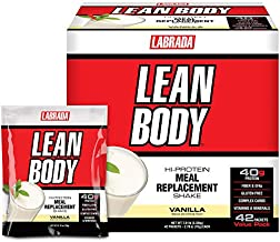 Lean Body MRP All-In-One Vanilla Meal Replacement Shake, 40g Protein, Whey Blend, 8g Healthy Fats EFA's & Fiber, 22 Vitamins and Minerals , No artificial color, Gluten Free, (42 Packets)