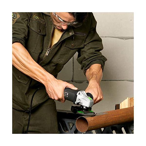 Amoladora, GALAX PRO 500W 12000RPM Radial Angular, Cubierta Protectora de Ajuste Rápido, Bloqueo Interruptor, Cabeza Metálica, Diámetro de 115 mm, eje M14, (2 Disco, Llave Plana)