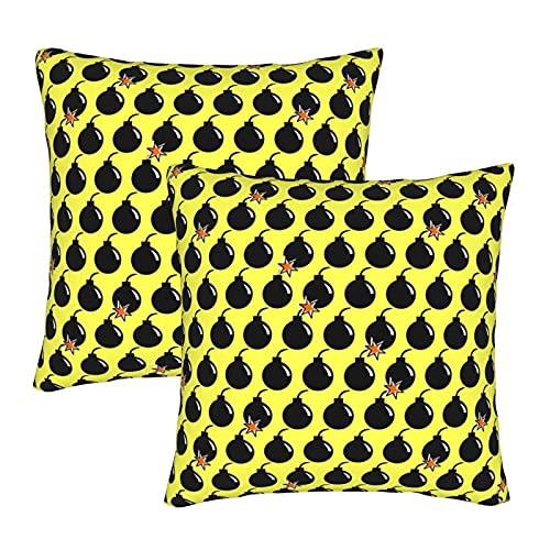 EASSEN Bomb Boom - Fundas de cojín decorativas cuadradas para sofá, decoración del coche, 45,7 x 45,7 cm, juego de 2