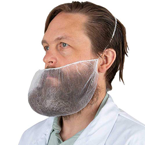 AMAZING White Beard Nets 19' x 9'. Pack of 100 Disposable Nylon Protective Beard Covers with Single Loop. PPE Facial Hair Covering for Work, Food Service, Kitchen. Breathable Unisex Beard Protectors.