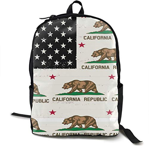 Casual College School Daypack, Large Capacity Rucksacks for High School Picnic Walking Cycling, American Usa California Flag Travel Hiking & Camping Rucksack for Boys Girls