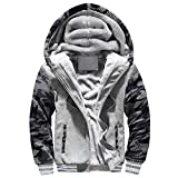 Mens M-4XL Winter Tops Warm Fleece Hood Zipper Sweater Jacket Outwear Coat Deep Gray