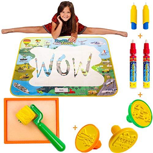 Wow Four Design Aqua Mat - Aqua Magic Mat - Water mat - Educational Travel Toys Gifts for Age 2 3 4 5 6 Year Old (Traffic Planes Cars)