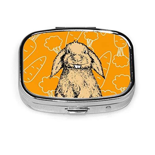 Easter Bunny Rabbit Carrot Custom Fashion Silver Square Pill Box Medicine Tablet Holder Wallet Organizer Case For Pocket Or Purse Vitamin Organizer Holder Decorative Box