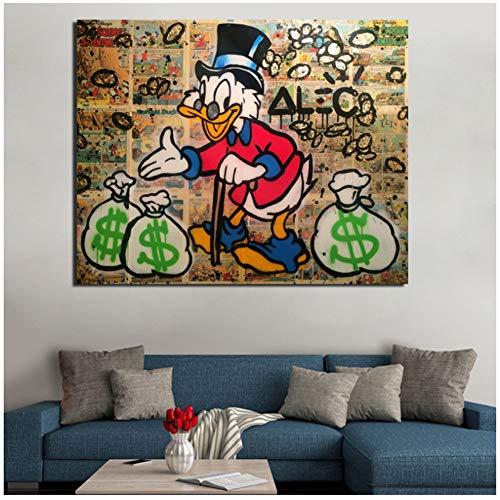 Alec Monopoly Scrooge Mcduck lienzo pintura impresiones sala de estar decoración del hogar moderno arte de la pared pintura al óleo carteles imágenes -50x60cm sin marco