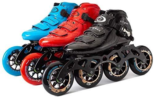 カーボンファイバーインラインスケートアダルト、屋外プロのレーススケート、85A PU 90mm / 100mm / 110mmホイール、男性と女性のインラインスピードスケートスケート、赤、41、サイズ:43、カラー:ブルー (Color : Black, Size : 43)