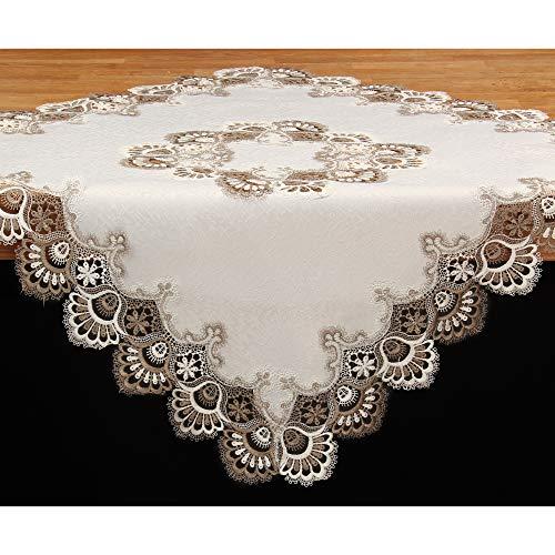 Quinnyshop Edle Jacquard Spitzen Tischdecke Mitteldecke ca. 85x85 cm Polyester, Braun Weiß Ecru
