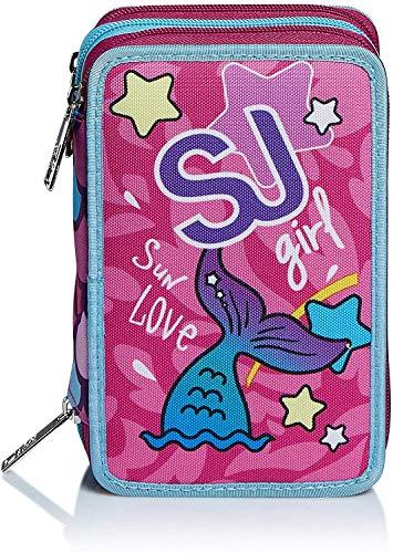 51JAdBAjDzL - Seven SJ Gang Sweet Wave - Estuche escolar con 3 cremalleras, con papelería