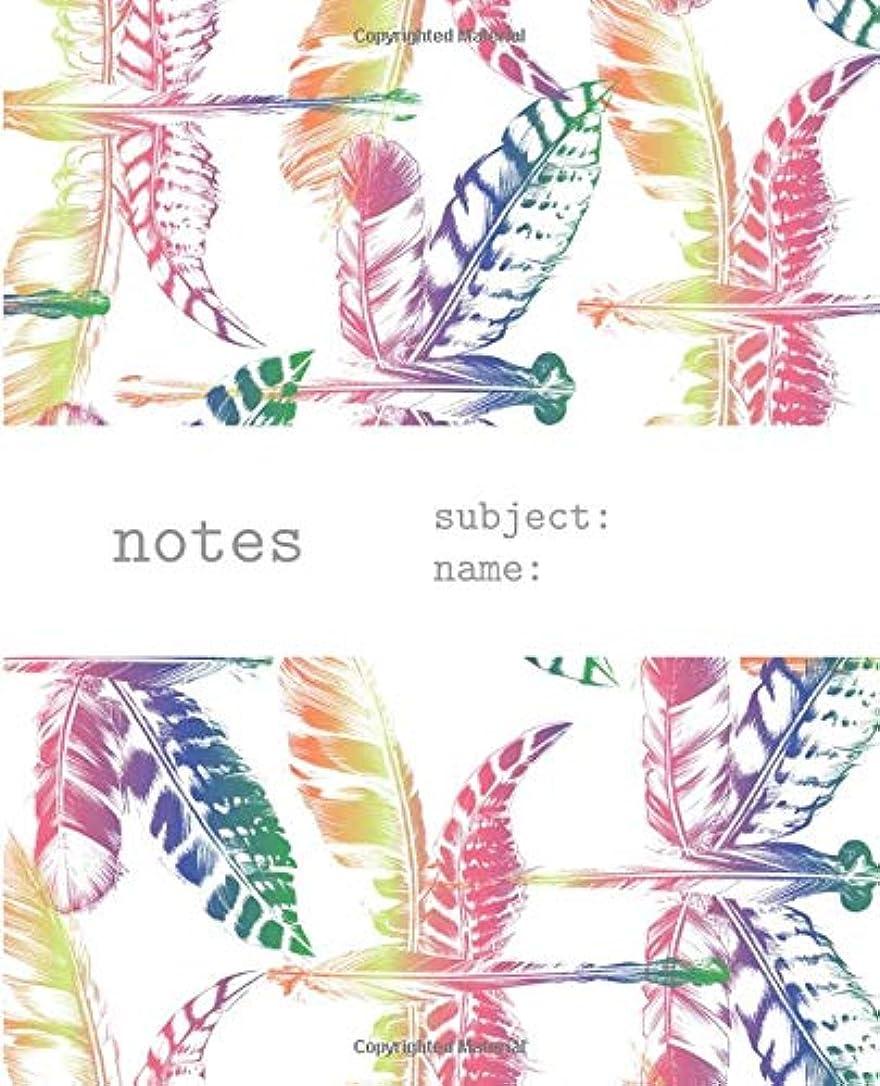 予備ハグ難破船Notes: Notebook & Journal With Rainbow Color Feather Dragonfly Colorful Feminine Art Pattern
