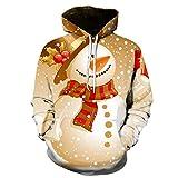 サンタパーカーセーター 暖かいソフトクラシックユニセックスクリスマスホリデーフード付きのセーター サンタクロースクリスマスの服,E,XL