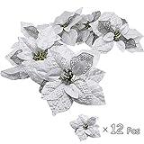 Blissun Glitter Poinsettia Christmas Tree Ornaments, Poinsettia Artificial Flowers, Christmas Decorations Flower, Artificial Wedding Christmas Flower (Silver)